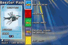 Duel Masters Sempai Legends Game Boy Advance You receive a booster pack with new cards after each successful duel.