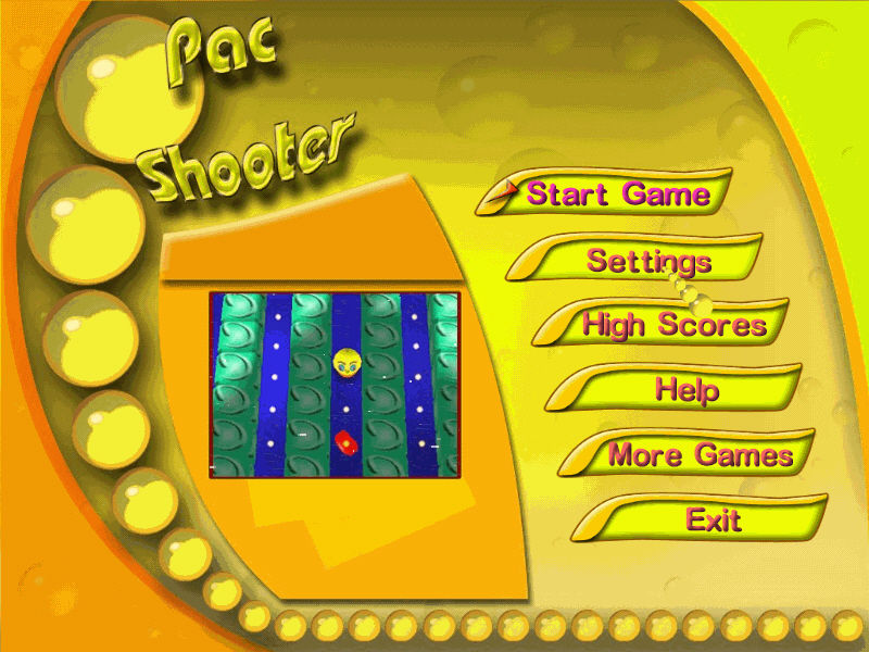 PacShooter 3D Windows Menu screen.