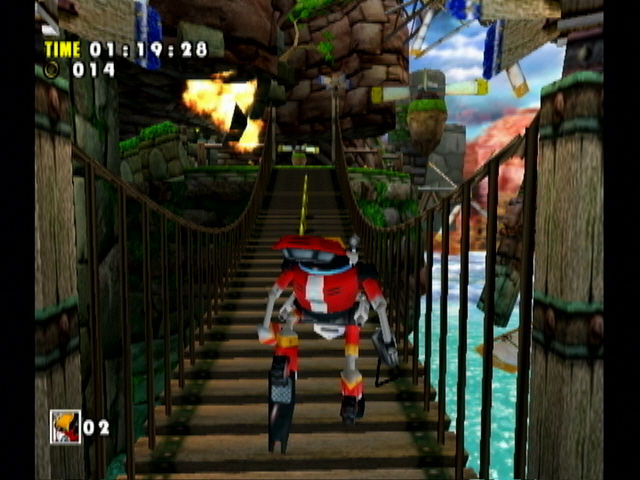 Sonic Adventure DX (Director's Cut) GameCube Clearing the bridge.