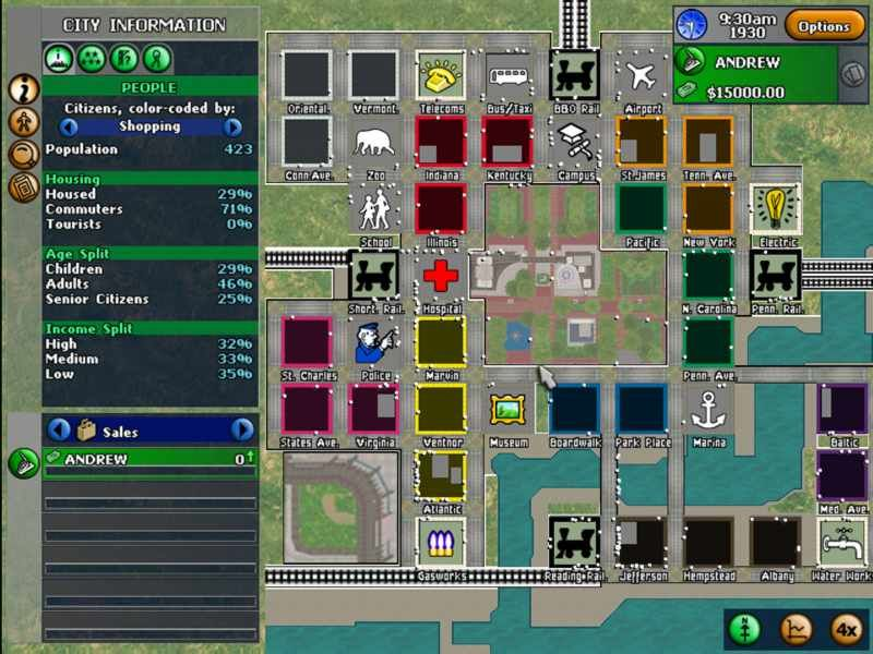 Monopoly Tycoon Windows The top down view where you see all the information about the city