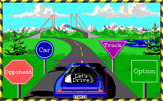 Stunts DOS Main Menu (EGA)