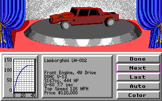 Stunts DOS Car Selection (EGA)
