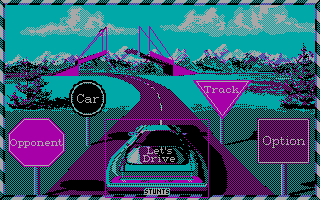 Stunts DOS Main Menu (CGA)