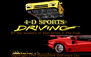 Stunts DOS 4D Sports Driving Title Screen (EGA)