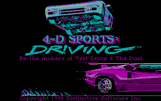 Stunts DOS 4D Sports Driving Title Screen (CGA)
