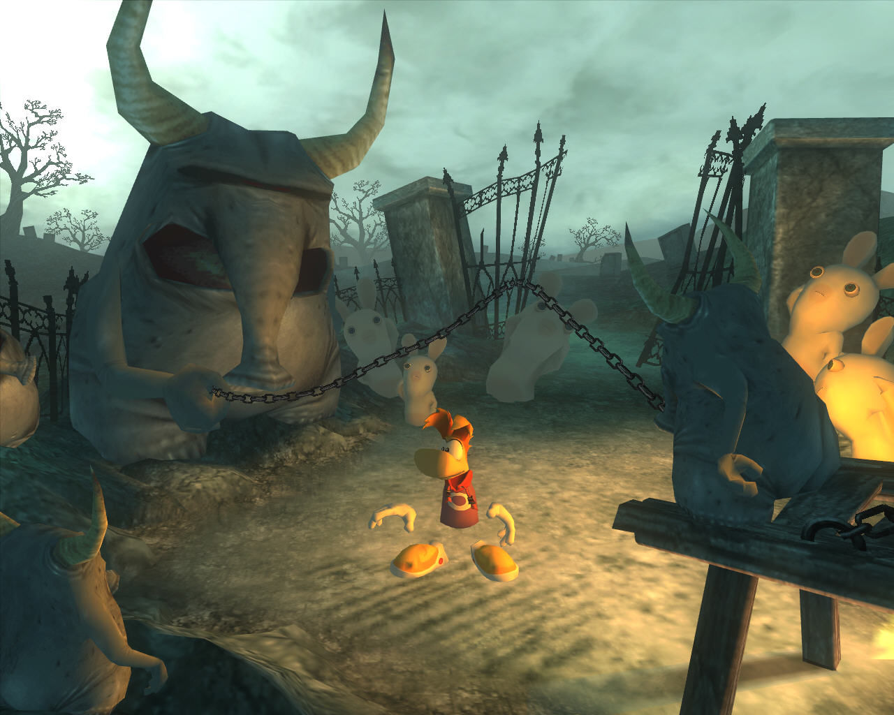 Rayman Raving Rabbids Windows Jump over the metal chain