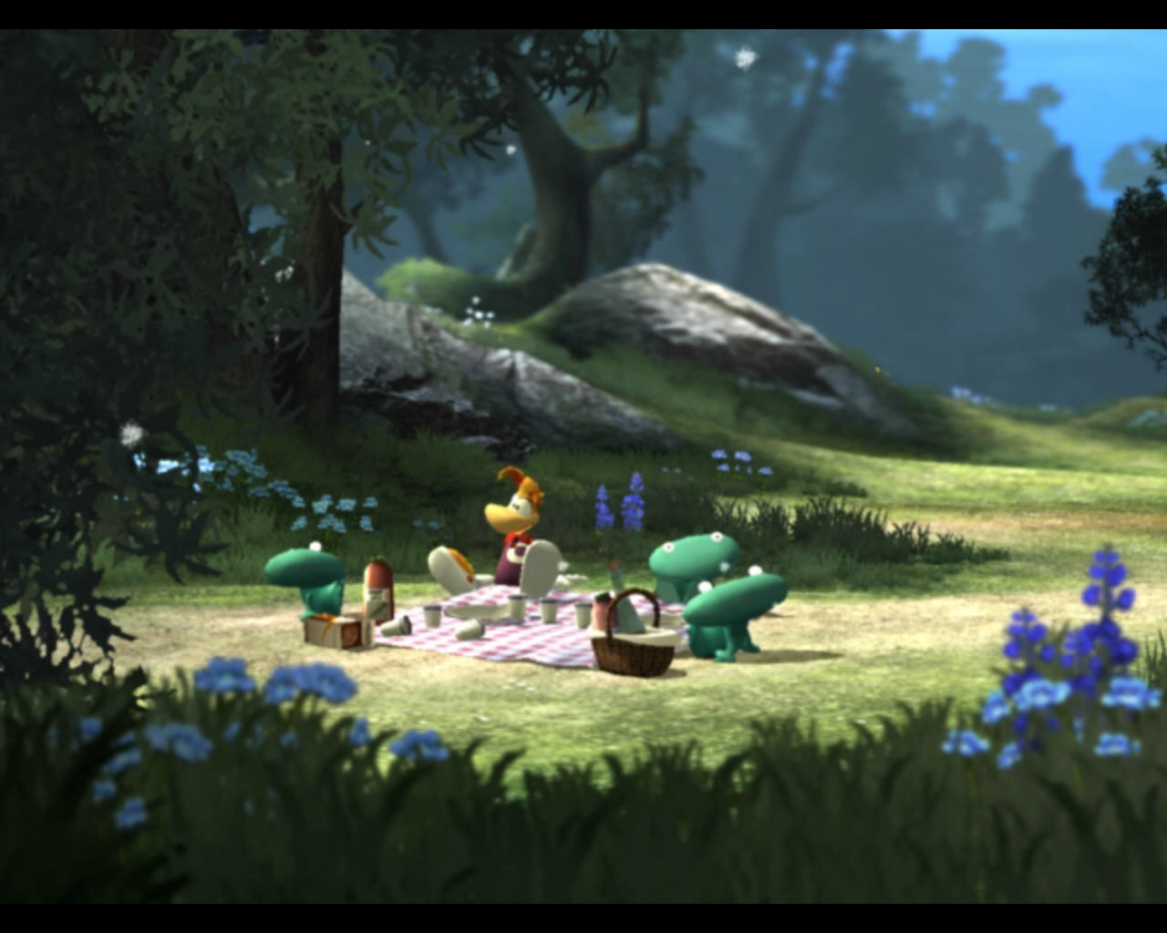 Rayman Raving Rabbids Windows Rayman having a picnic.