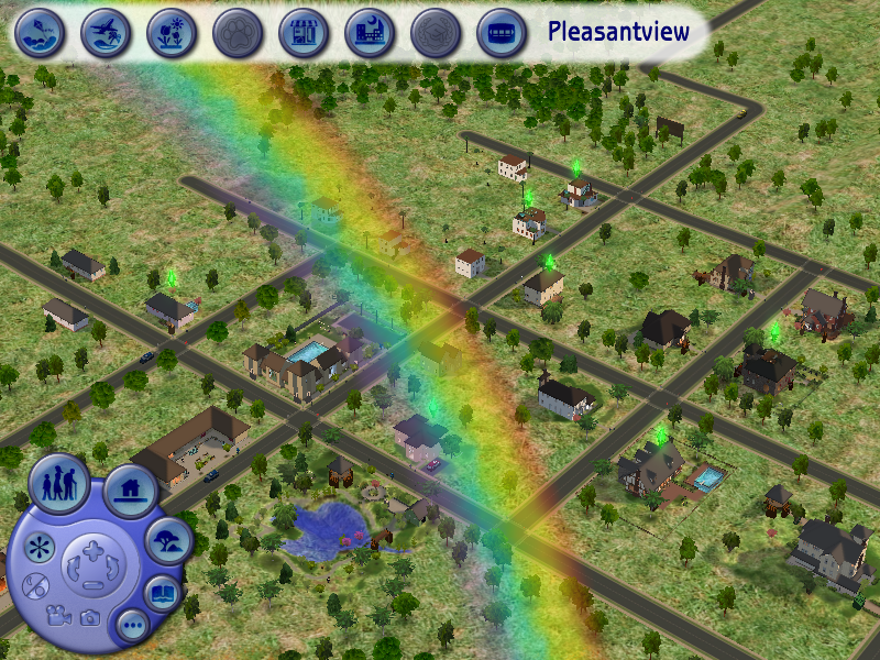 The Sims 2: FreeTime Windows A rainbow over Pleasantview.