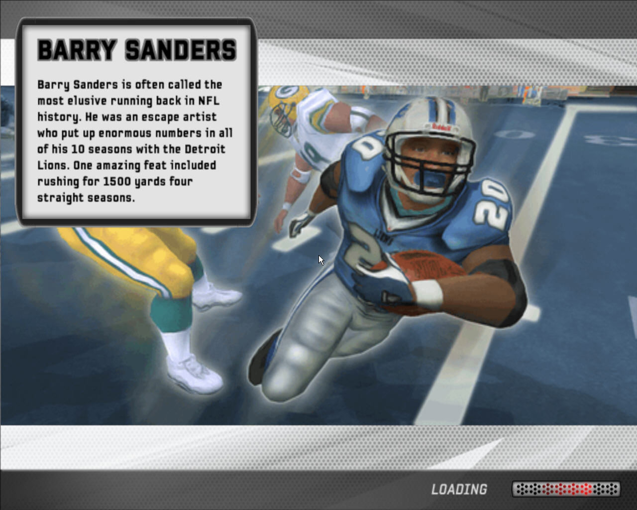 Madden NFL 07 Windows Barry Sanders in loading screen