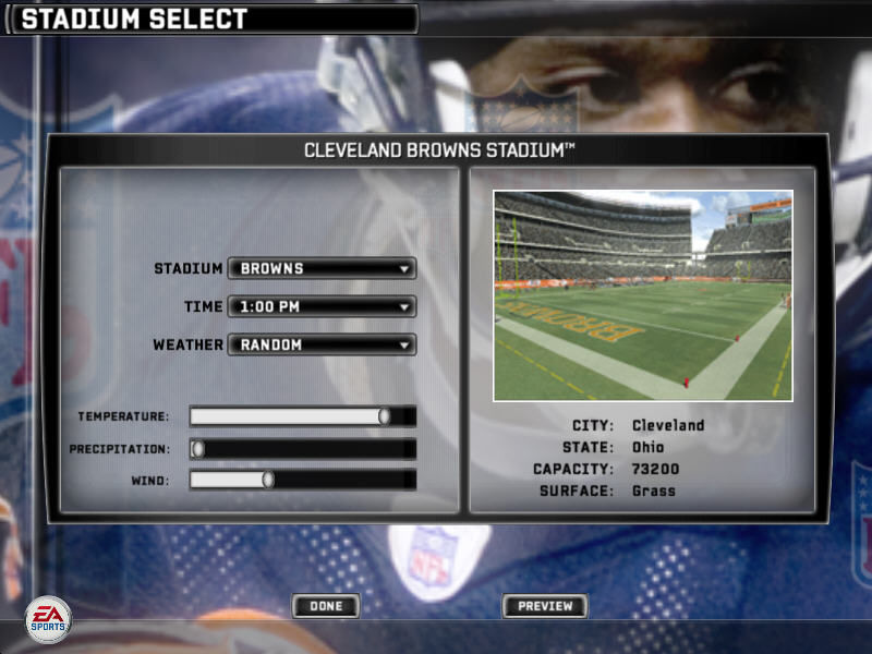 Madden NFL 07 Windows Stadium selection screen