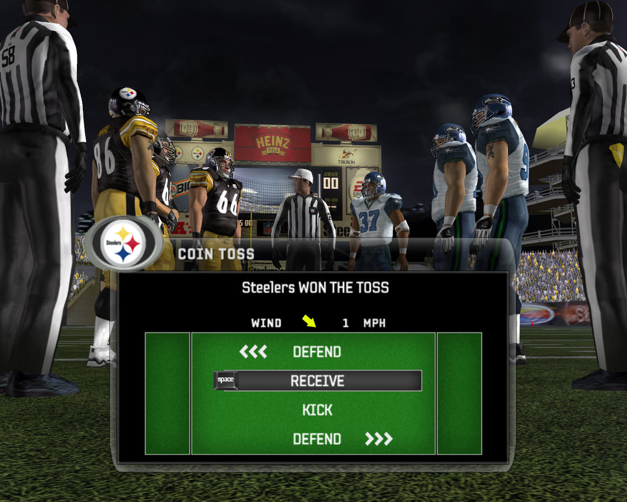 Madden NFL 07 Windows Coin toss before the match