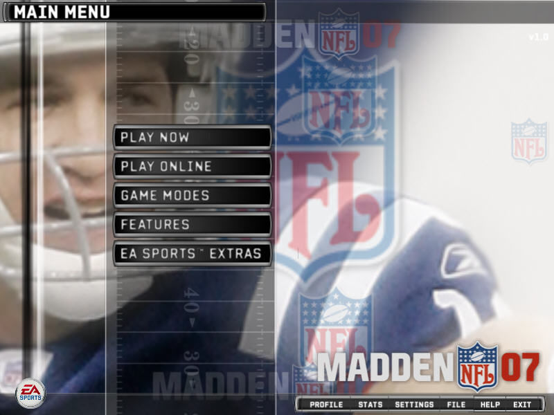 Madden NFL 07 Windows Main menu