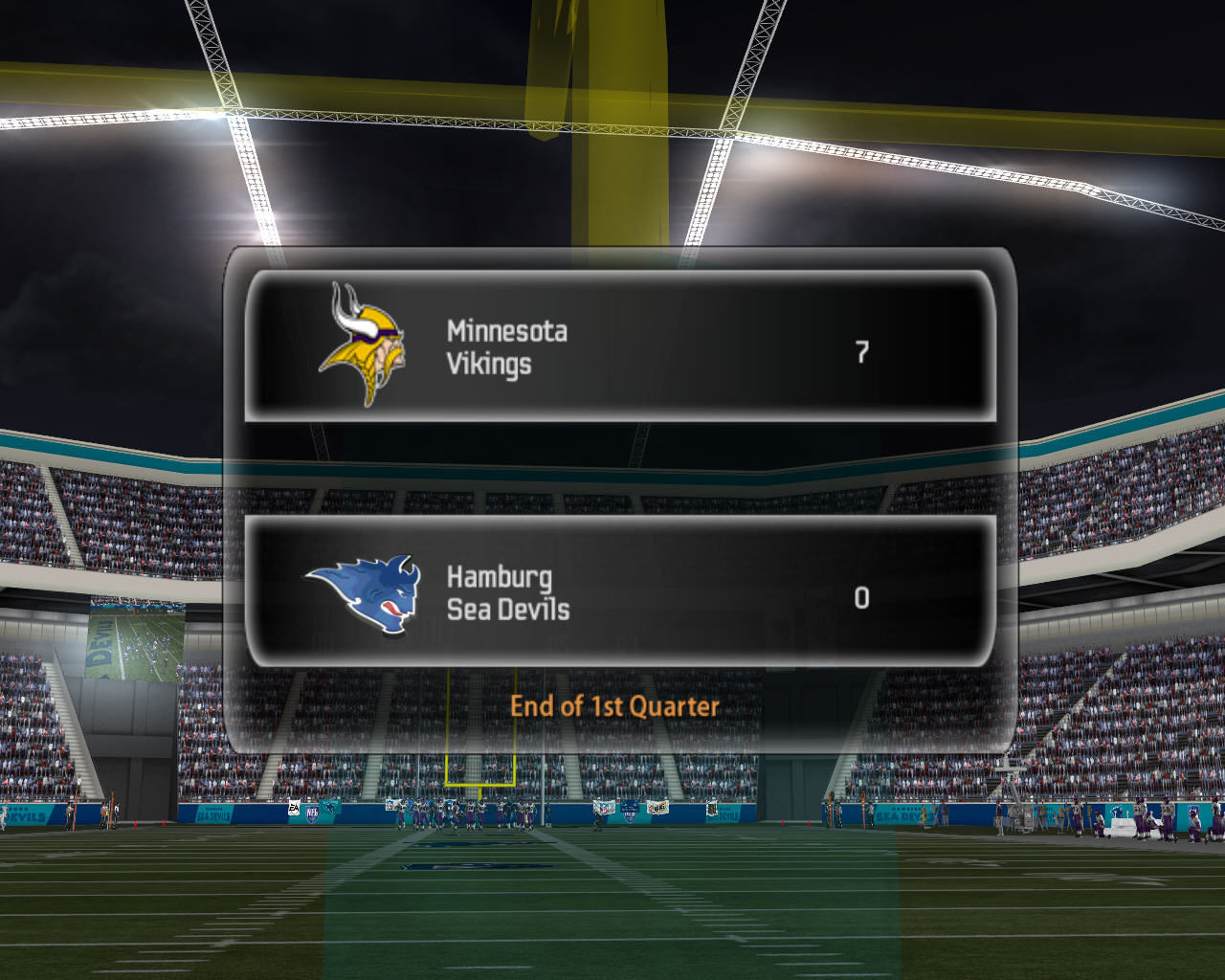 Madden NFL 07 Windows Match between Minnesota Vikings and Hamburg Sea Devils about to start