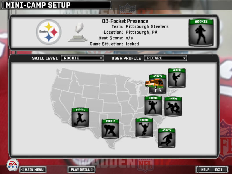 Madden NFL 07 Windows Mini-Camp Setup screen