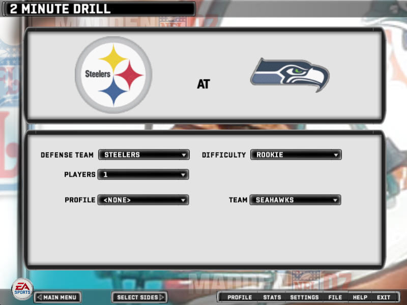 Madden NFL 07 Windows 2 Minute Drill screen