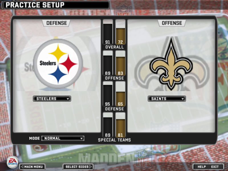 Madden NFL 07 Windows Practice Setup screen