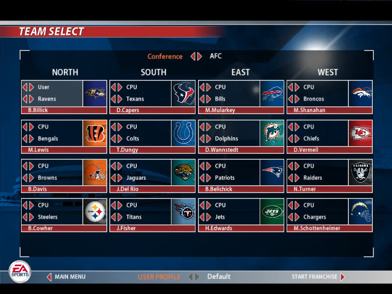 Madden NFL 2005 Windows Team selection in Franchise mode