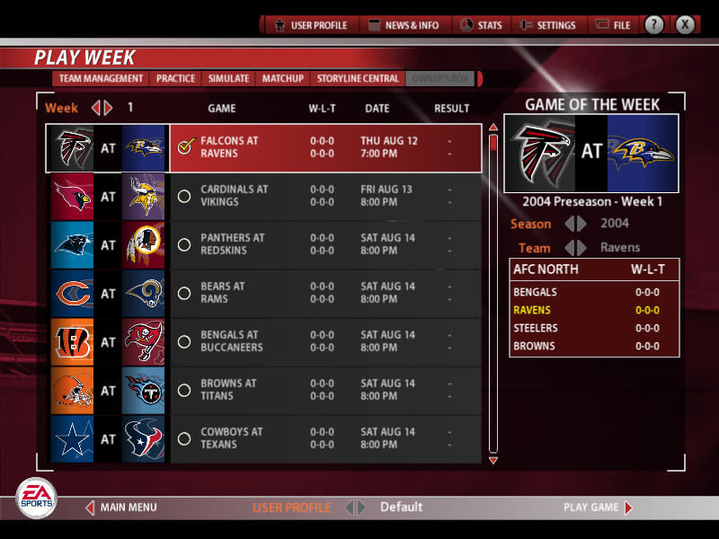 Madden NFL 2005 Windows Play week calendar