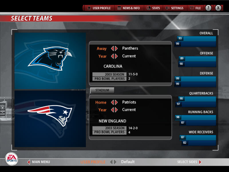Madden NFL 2005 Windows Team selection screen
