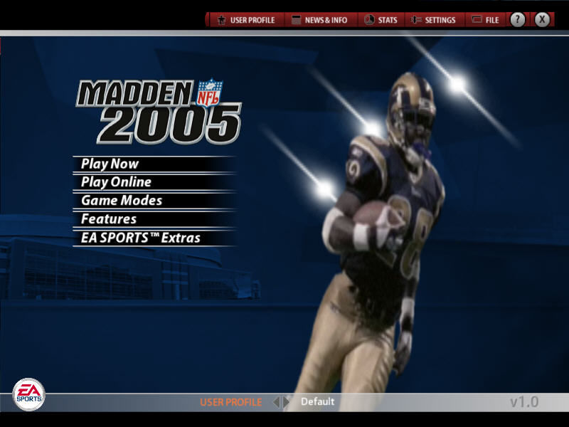 Madden NFL 2005 Windows Main menu