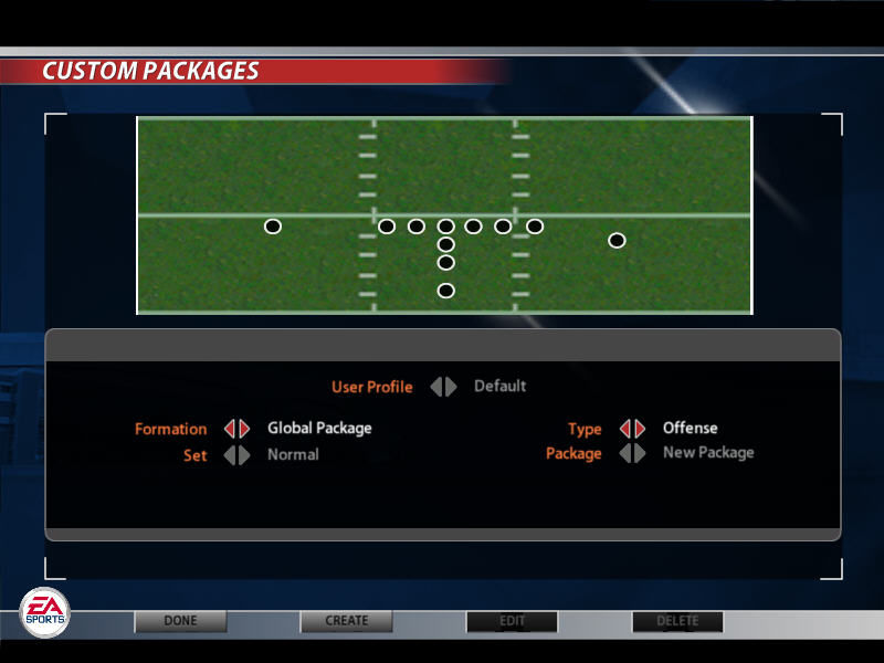 Madden NFL 2005 Windows Custom Packages screen
