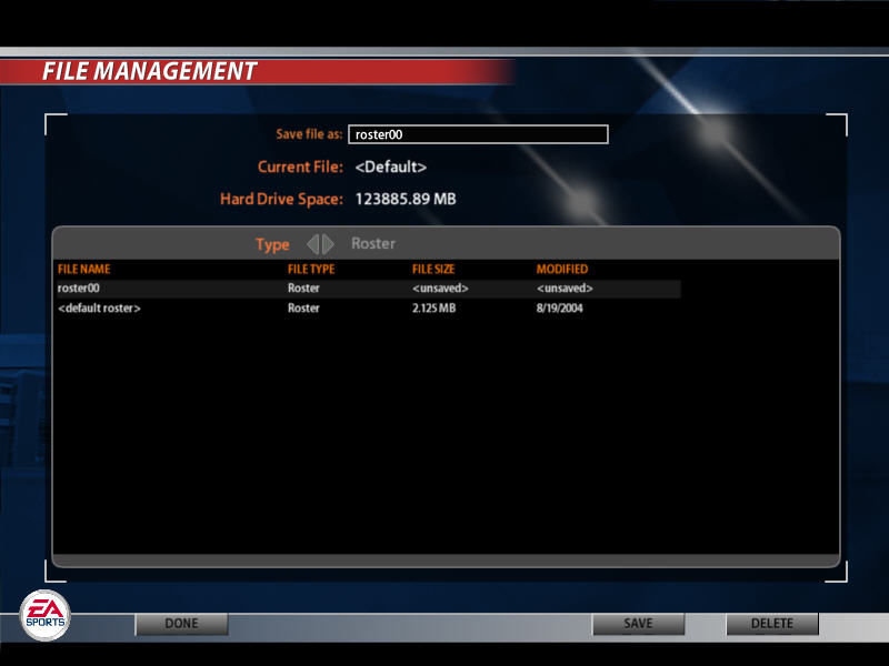 Madden NFL 2005 Windows File management screen