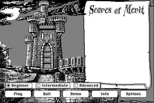 Dark Castle Macintosh Main menu