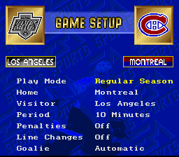 NHL '94 SNES The main menu screen -- all options are the same as the Genesis version, except that there's no user profiles on the SNES.