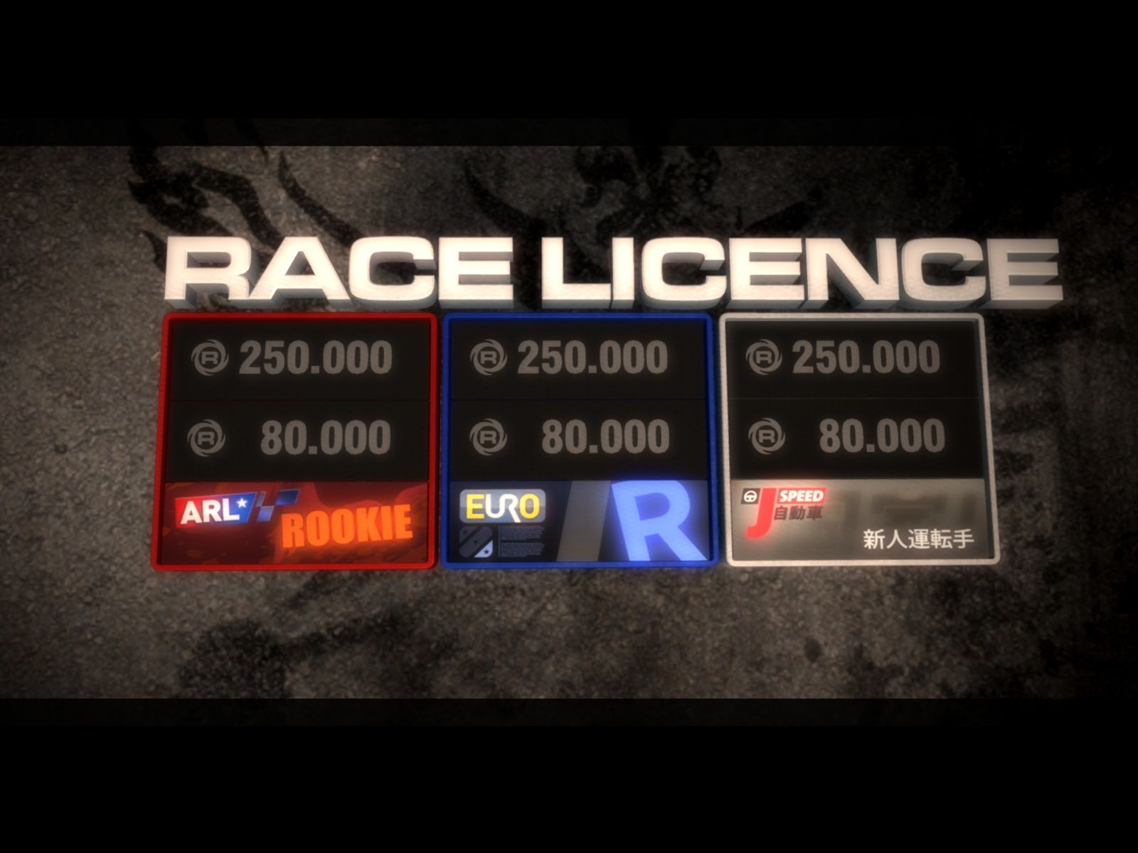 GRID Windows The three race licences and their requirements.