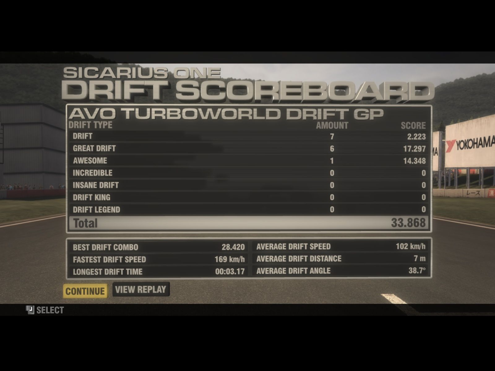 GRID Windows The drift scoreboard - and yes I know I'm really bad.