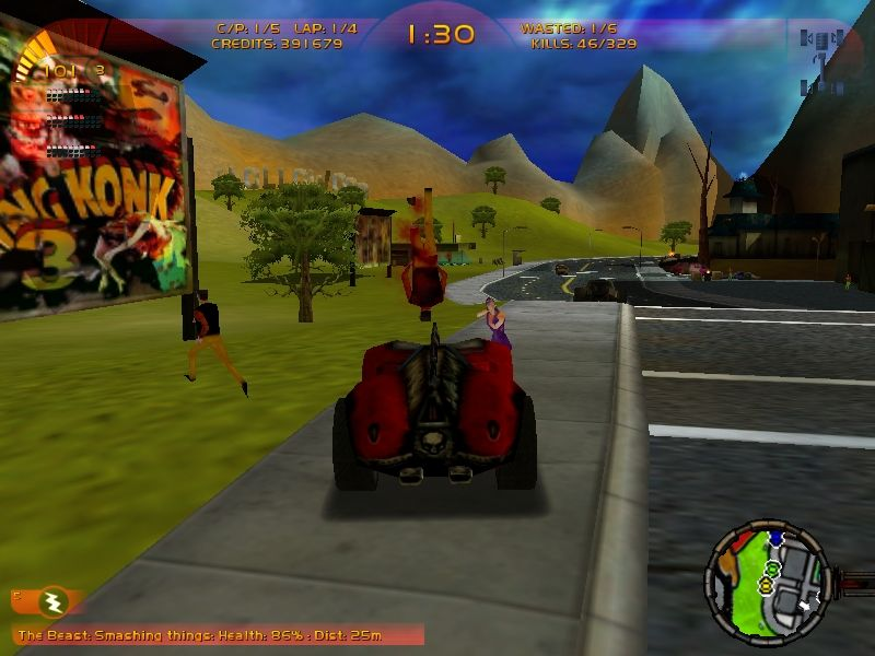 Carmageddon 3: TDR 2000 Windows ... the very hard way, running over all the pedestrians on the map...