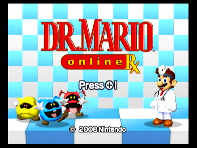 Dr. Mario Online Rx Wii Title screen