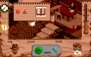 Indiana Jones and The Fate of Atlantis: The Action Game DOS Level 1 - talking with Trottier