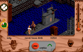 Indiana Jones and The Fate of Atlantis: The Action Game DOS Level 3 - Get on the sub!