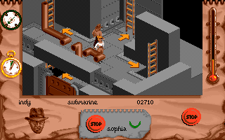 Indiana Jones and The Fate of Atlantis: The Action Game DOS Level 4 - the sub