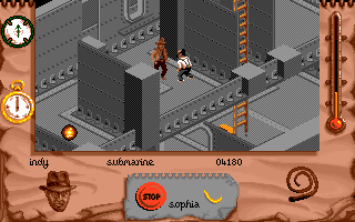 Indiana Jones and The Fate of Atlantis: The Action Game DOS Level 4 - Indy whips a Nazi!