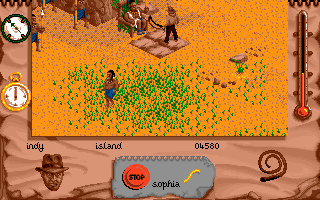 Indiana Jones and The Fate of Atlantis: The Action Game DOS Level 5 - meeting with the village chief.