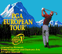 PGA European Tour SNES Title screen