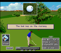 PGA European Tour SNES A tree is blocking the view.