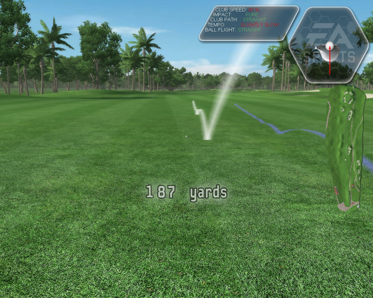 Tiger Woods PGA Tour 08 Windows Blue and white line shows your previous practise shots.