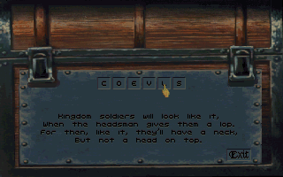 Betrayal at Krondor DOS Some chests have an advanced security system. Solve the riddle to open the chest!