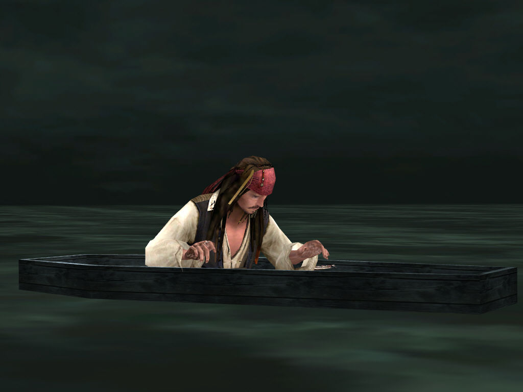 Disney Pirates of the Caribbean: At World's End Windows Jack Sparrow rowing in a coffin