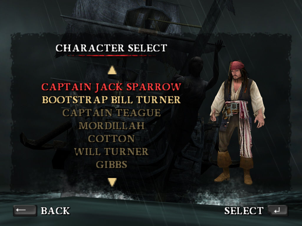 Disney Pirates of the Caribbean: At World's End Windows Character selection in challenge mode