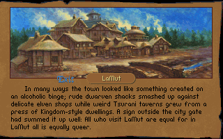 Betrayal at Krondor DOS Towns offer a different services. LaNut, on of the first towns you will visit, for example provides a Fletcher and an Inn.