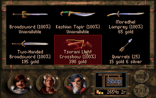 "Betrayal at Krondor DOS Items displayed at stores may be haggled and bought. Failed haggling may prompt the shopkeeper to ""sulk"" and render the item ""unavailable."""