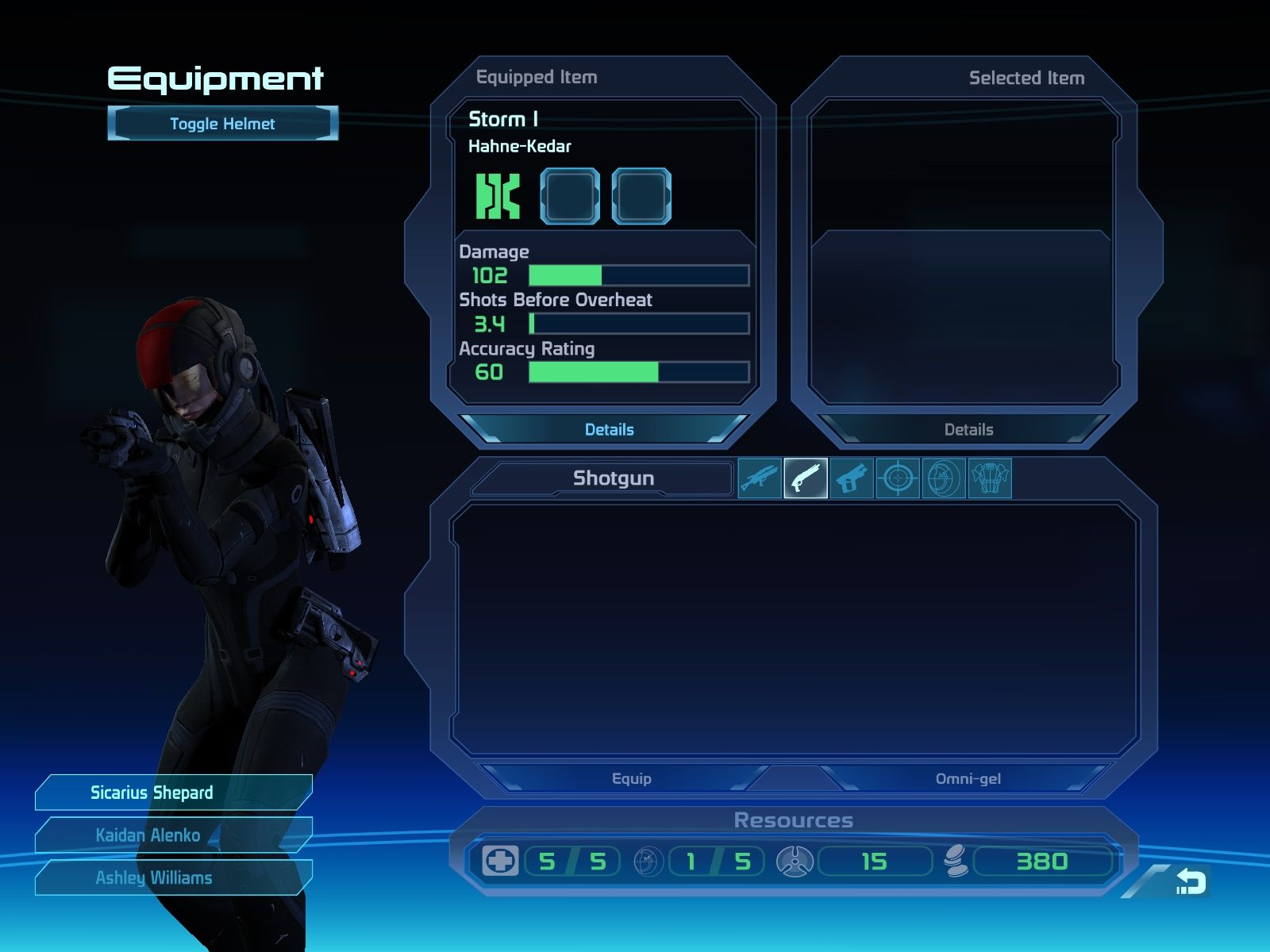 Mass Effect Windows The inventory