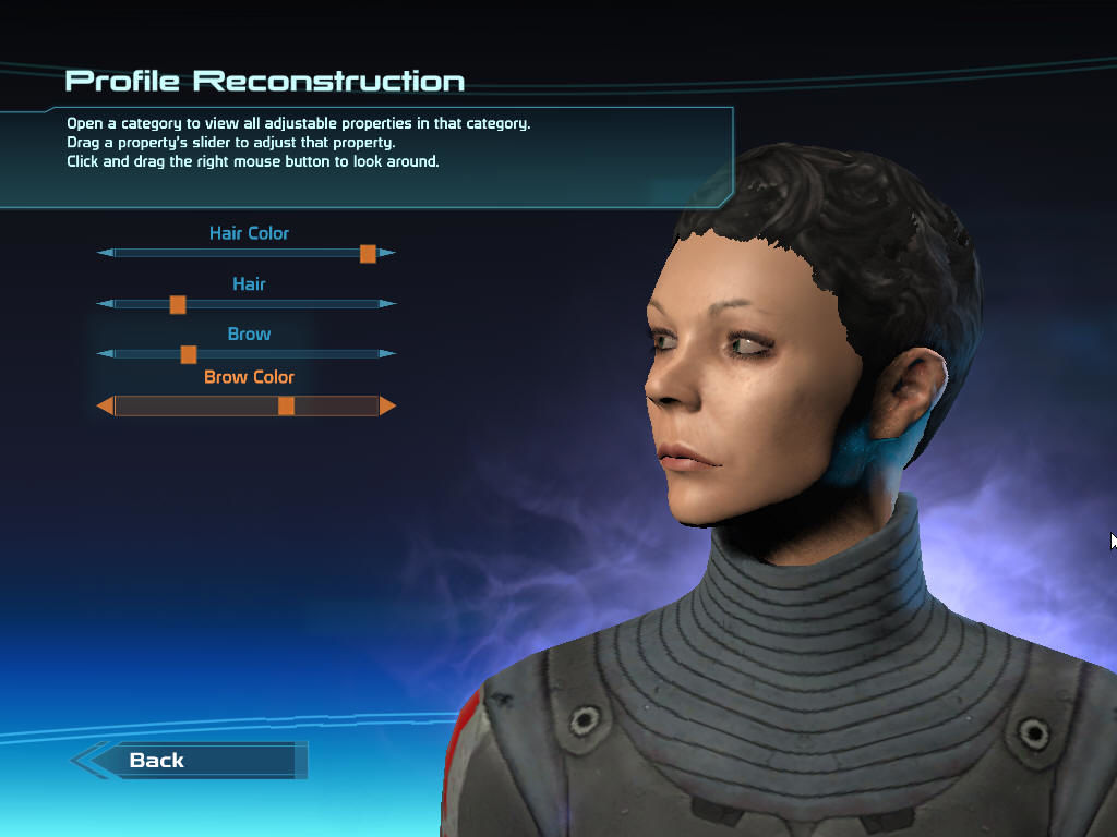 Mass Effect Windows Character creation: detailed options