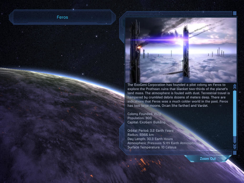 Mass Effect Windows Information about a planet