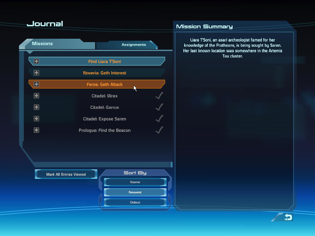 Mass Effect Windows Your journal keeps track of quests.