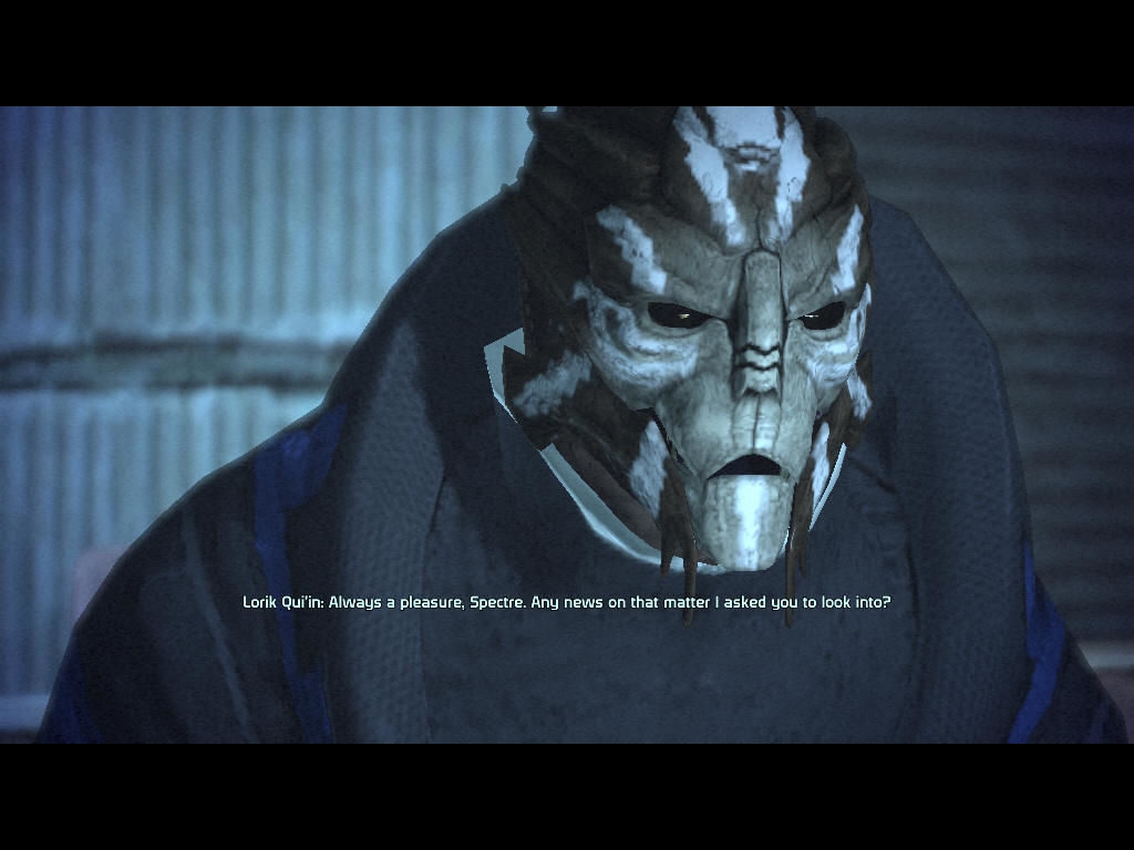 Mass Effect Windows Talking to a turian patron in a bar on Noveria.